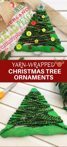 Yarn-Wrapped Christmas Tree Craft Stick Ornaments are a great holiday project for the whole family. They're so easy to make and a festive addition to your Christmas decor! via @lalainespins