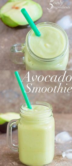 Avocado and banana smoothie recipe that needs only 5 ingredients. Can be Made in… Avocado and banana smoothie recipe that needs only 5 ingredients. Can be Made in 10 minutes or less. A Vegan and healthy smoothie recipe for breakfast or lunch Avocado Smoothie, Juice Smoothie, Smoothie Drinks, Fruit Smoothies, Healthy Smoothies, Healthy Drinks, Healthy Food, Smoothies With Avacado, Banana Smoothie Recipes