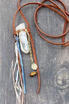 Raw Crystal Necklace Earthy Jewelry Talisman by DeerGirlDesigns