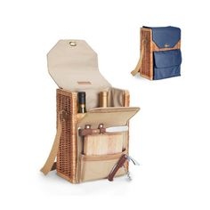 Features:  -2 Compartments for wine bottles.  -Stainless steel waiter-style corkscrew.  -Hardwood cutting board (6'' x 6'').  -Stainless steel cheese knife with wood handle.  -Insulated wine and chees