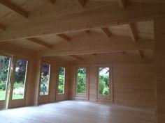 Large Garden Room D / / 5 x 8 m – Summer House 24 Wooden Summer House, Garden Log Cabins, Floor Insulation, Garden Office, Log Homes, Plank, Garden Design, Pergola, Outdoor Structures