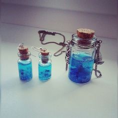#Diy Ocean in the bottle #earrings with #necklace #ocean #blue #bottle #charmbottle #jevellery