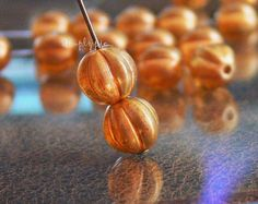 Sandalwood Halo Czech Glass Beads 8mm Fluted Melon 20 by simplypie