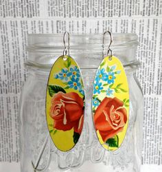 Upcycled tin earrings made from vintage tins--Yellow earrings with flowers