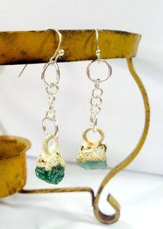 Crystal earrings, Gemstone Earrings, Emerald Earrings, Long, Silver Earrings, Dangle Earrings, Green and Gold Earrings by NaturefyingJewelry on Etsy