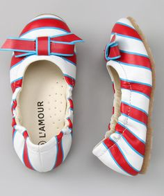 Take a look at this Red & Blue Bow Flat by L'Amour Shoes on #zulily today!