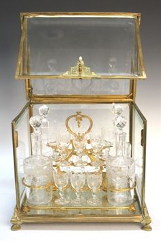 Antique French Gilt and Glass Tantalus