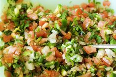 the best pico... except I do one onion, 12 roma toms, 3 japs (I like spicy), 2 big bunches of cilantro (love the stuff) and one big lime squeezed - and salt and pepper