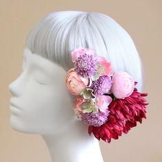 髪飾り・ヘッドドレス/手鞠菊の髪飾り(ピンク) - ウェディングヘッドドレス&花髪飾りairaka