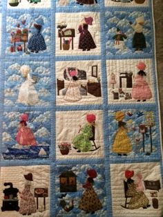 """Portion of my quilt- Quilt Blocks from the book: """"Bonnet Girls-Patterns of the Past"""" by Helen R. Scott."""