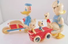 Donald Duck 1960's Ramp Walker Donald & Nephews Donald Pushing Wheelbarrow