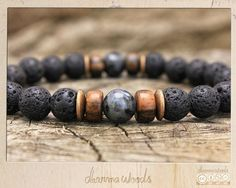 Men's Bracelet // Healing Mala, Buddhist Meditation Jewelry, Unisex // Lava Rock & Larvikite (Black Moonstone) // Eco-Friendly, Wood, Vegan