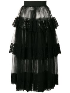 Shop online Dolce & Gabbana lace tiered tulle skirt now with Same Day Delivery in London. New season, new arrivals daily. Evening Skirts, Tiered Skirts, Tulle Skirts, Elastic Waist Skirt, Mid Length Skirts, Blouse Dress, Skirt Outfits, Lace Skirt, Rock