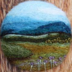 Brooch -  by lilfishstudios. Actual scene measures 1 1/4 inches across - needle felted wool on wood