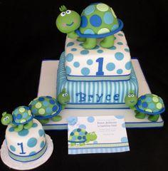 Torten Idee für Jungen in Blau-Grün mit Schildkröten
