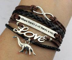"Where there's a will there's a way""bracelet love bracelet infinity wish bracelet dinosaur bracelet cute personalized jewlery best gift-N2389 on Etsy, $6.69"