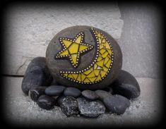 """Yellow """"Crescent Moon and Star""""  - Mosaic Rock Paperweight / Garden Stone. $26.00, via Etsy."""