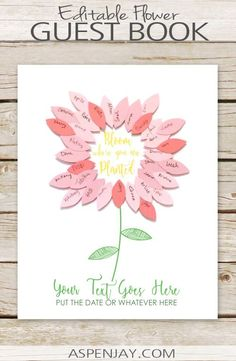 Free printable flower guest book that you can customize!!! This is perfect for a spring party! #floralguestbook #flowerguestbook #guestbook #freeguestbook