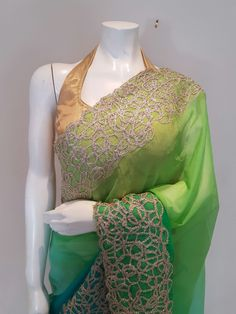 Color: Shaded Ombre of turquoise and green Fabric: Chiffon Work: Gold gotta work border Blouse: Stitched Size: bust Dry Clean Only Color may slightly vary due to digital photography Chiffon Saree, Green Fabric, Digital Photography, Sari, Shades, Turquoise, Pure Products, Blouse, Clothing