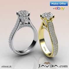 Brilliant Round Diamond Engagement Ring GIA F SI1 Color 14k White & Yellow Gold 2.95ct.