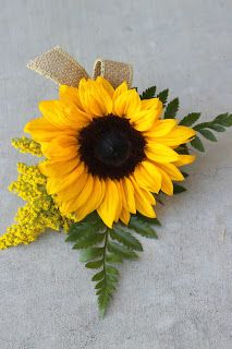Groom's Boutonniere: Sunflower with solid aster and burlap ribbon // Celebration Flair