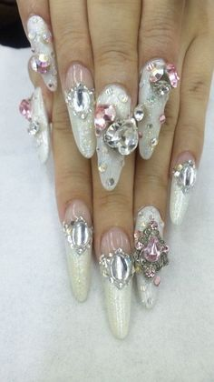 Find images and videos about pink, nails and kawaii on We Heart It - the app to get lost in what you love. Pretty Nail Colors, Pretty Nail Designs, Pretty Nails, Nail Art Designs, Bling Nails, 3d Nails, Love Nails, Swag Nails, Gyaru