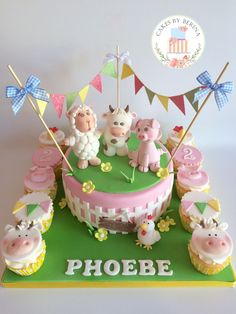 Girly farm animals birthday cake with bunting, sheep, cow, pig and chickens
