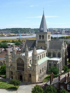 Rochester Cathedral, England.  Rochester Cathedral, or the Cathedral Church of Christ and the Blessed Virgin Mary, is a Norman church in Rochester, Medway.  The bishopric is the second oldest in England after Canterbury.