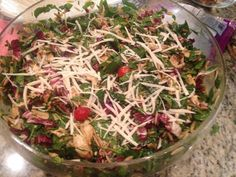 INSALATA FLORENTINE (Macoroni Grill) The main ingredients in the salad- organic spinach radicchio toasted pine nuts sun dried tomatoes grilled chicken capers ORZO pasta- (I have found GF before- only the texture is sticky and its not as good, but doable... I have also used brown rice.....for another GF option)- honestly- its best with the real stuff if you can eat it. Click on the Photo for the recipe on The Good Stuff Girl Facebook page.