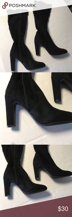 """Liz Claiborne zip up boots soft Suede leather 8.5 Nice Liz Claiborne over calf Suede boots with gold zipper. Size 8-1/2.  4"""" heel.  A small scuff on top of right Toe. Liz Claiborne Shoes Heeled Boots"""
