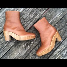Maison Martin Margiela cognac ankle boots. Like new, Italian soft leather ankle platform boots by Maison Martin Margeila Paris. Leather color is Cognac and the soles are like new. Maison Martin Margiela Shoes Ankle Boots & Booties