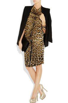 Yves Saint Laurent leopard-print silk-satin dress.