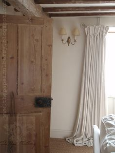 Puddled loom state cotton curtains (drapes) and raw wood doors - The Paper Mulberry: Our Old Home