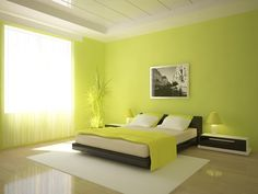 New Lime Green Painted Furniture Yellow Ideas Green Bedroom Colors, Lime Green Bedrooms, Green Bedroom Design, Bedroom Color Combination, Bedroom Wall Colors, Home Room Design, Green Rooms, Bedroom Artwork, Colors For Bedrooms