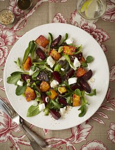 Roasted butternut and beetroot, combined with creamy goat's cheese and a balsamic dressing is a winner.