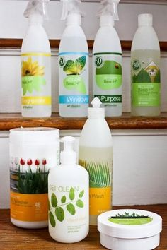 shaklee.  this is a highly favored cleaning company (oprah, rachael ray, real simple mag).  the products are super super super concentrated (eg. 2 oz replaces 728 bottles of windex!).  tip: add in a few drops of essential oils to the cleaner to make it smell beterr.  http://katheats.myshaklee.com/us/en/welcome.html