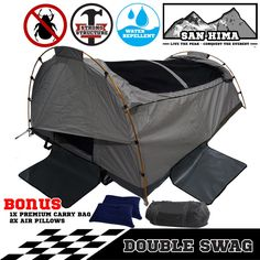 SanHima Double Swag Camping Swags Fishing Deluxe Aluminum Poles Dome Canvas Tent