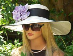 Wide Brim Hat, Kentucky Derby Hat. Wedding Hat. Church Hat. Hat for Ascot, Women's Lavender Hat. Tea Party Hat, Garden Party Hat, Purple Hat