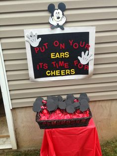 Mickey Mouse Ears Station Idea For A Birthday PartyYou can find Mickey mouse birthday and more on our website.Mickey Mouse Ears Station Idea For A Birthday Party Mickey 1st Birthdays, Mickey Mouse First Birthday, Mickey Mouse Clubhouse Birthday Party, Mickey Mouse Parties, Mickey Party, First Birthday Parties, 3rd Birthday, Mickey Mouse Birthday Decorations, Pirate Party