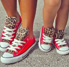Red & cheetah print converse for mom and daughter = ADORABLE! So Cute Baby, Baby Kind, Fashion Kids, Mommy And Me Outfits, Girl Outfits, Converse Rouge, Cute Shoes, Me Too Shoes, Pretty Shoes