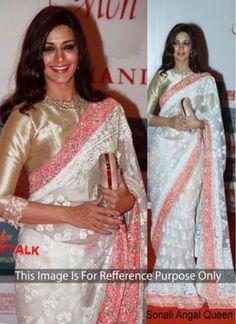 Riveting Sonali Bendre Off White Designer Partywear  Saree