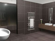 Contemporary metal bars towel warmer with glass incorporated into the design.