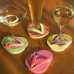 Flip Flop Stemware Coasters from After 5 - You don't want your wine glasses, martini stems, margarita bowls, and pilsn Cute Coasters, Glass Coasters, Drink Coasters, Wine Coaster, Coaster Art, Summer Crafts, Summer Fun, Summer Winter, Summer Parties