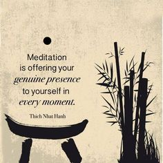 """""""Meditation is offering your genuine presence to yourself in every moment."""""""