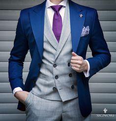 Signori » Media Dress Suits For Men, Suit And Tie, Mens Fashion Suits, Mens Suits, Blazer Outfits Men, Suit Combinations, Gq, Fashion Seasons, Gentleman Style