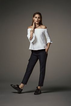 Olivia Palermo for Banana Republic Holiday 2016 Collection | Tuxedo-Waistband Trousers