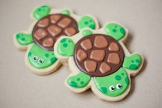 Hand Decorated Sugar Cookies Sea Turtle // 1 Dozen. $48.00, via Etsy.