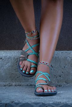 Turquoise Grey Sandals by Plaka