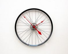 Bicycle wheel clock.