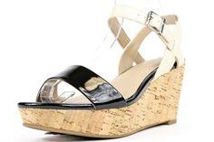 Alfani Pyper Black/Pale Wedge Sandals